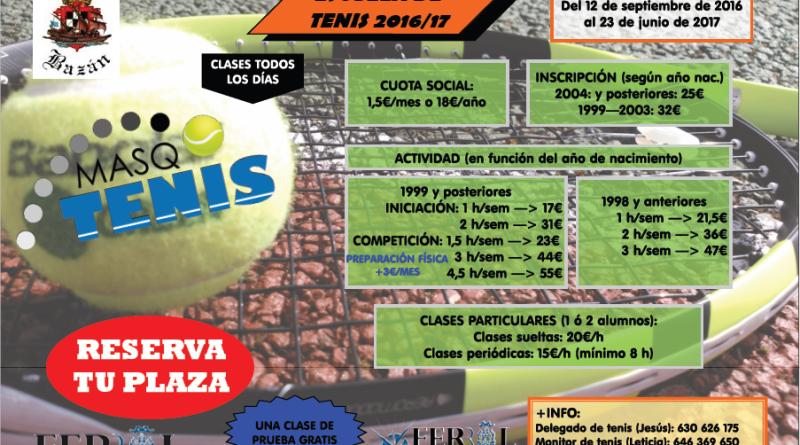 Cartel clases tenis 2016 2017